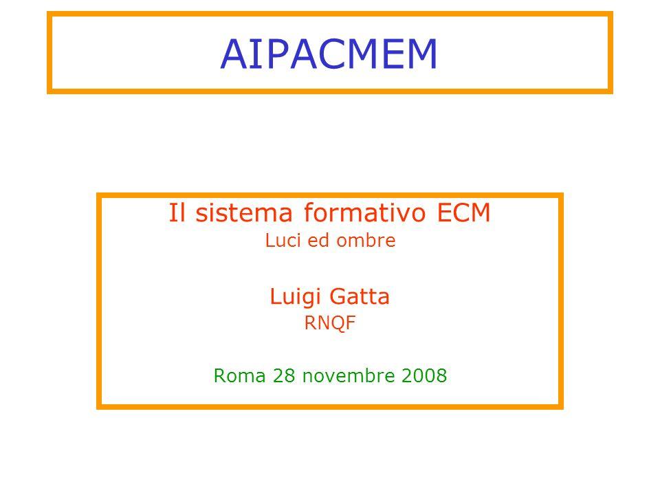 AIPACMEM Il sistema formativo ECM Luci ed ombre Luigi Gatta RNQF Roma 28 novembre 2008