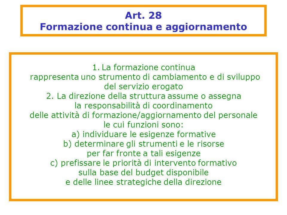 Art. 28 Formazione continua e aggiornamento 1.La formazione continua rappresenta uno strumento di cambiamento e di sviluppo del servizio erogato 2. La