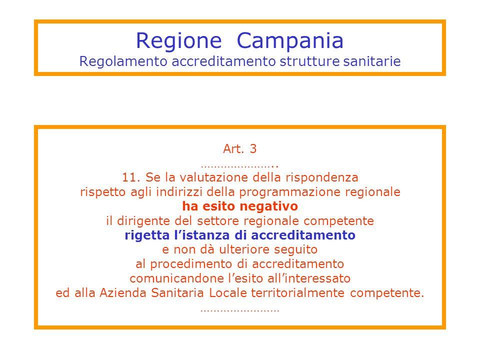 Regione Campania Regolamento accreditamento strutture sanitarie Art. 3 ………………….. 11. Se la valutazione della rispondenza rispetto agli indirizzi della