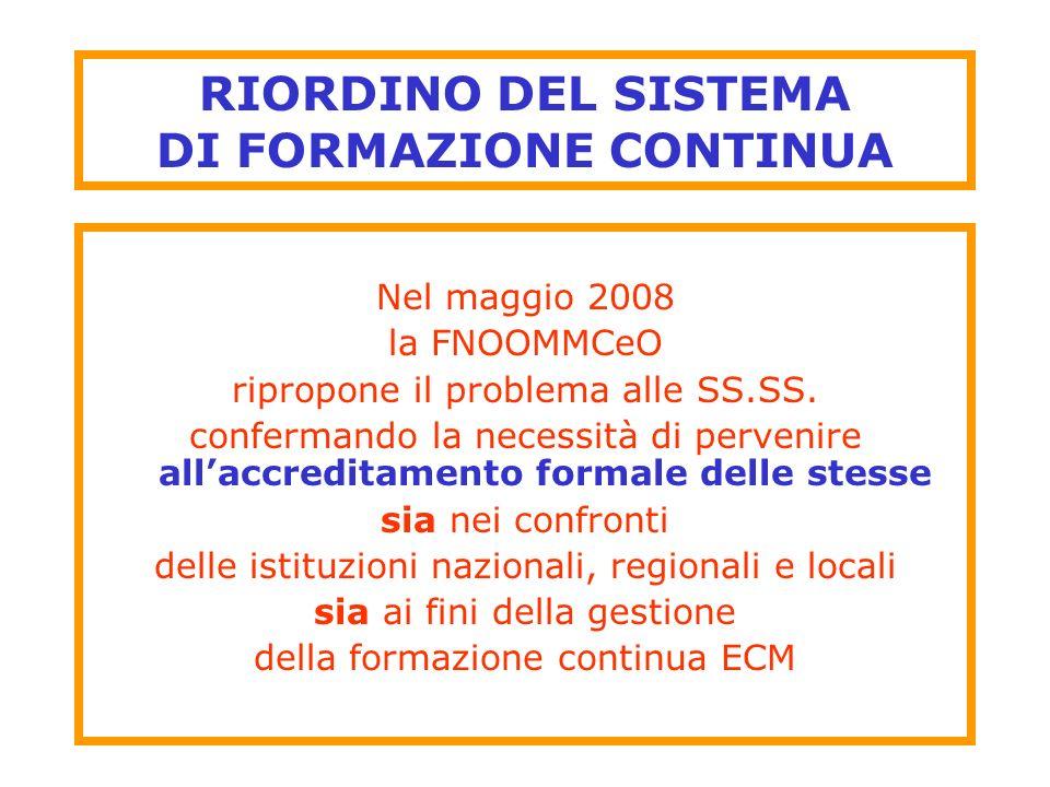 RIORDINO DEL SISTEMA DI FORMAZIONE CONTINUA Nel maggio 2008 la FNOOMMCeO ripropone il problema alle SS.SS. confermando la necessità di pervenire allac