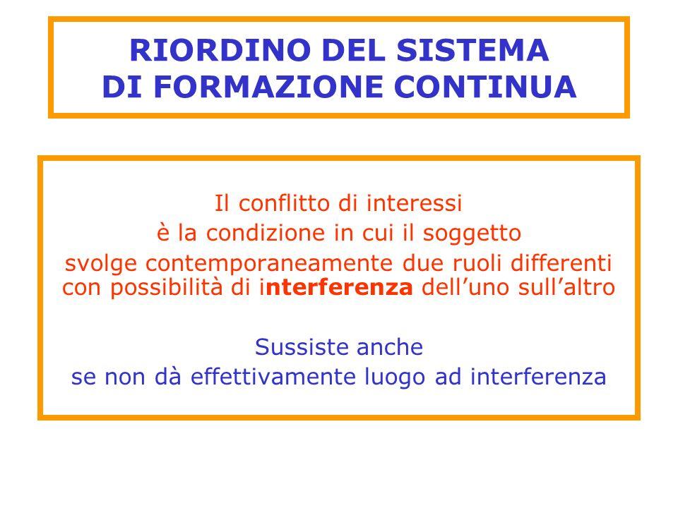 RIORDINO DEL SISTEMA DI FORMAZIONE CONTINUA Il conflitto di interessi è la condizione in cui il soggetto svolge contemporaneamente due ruoli different