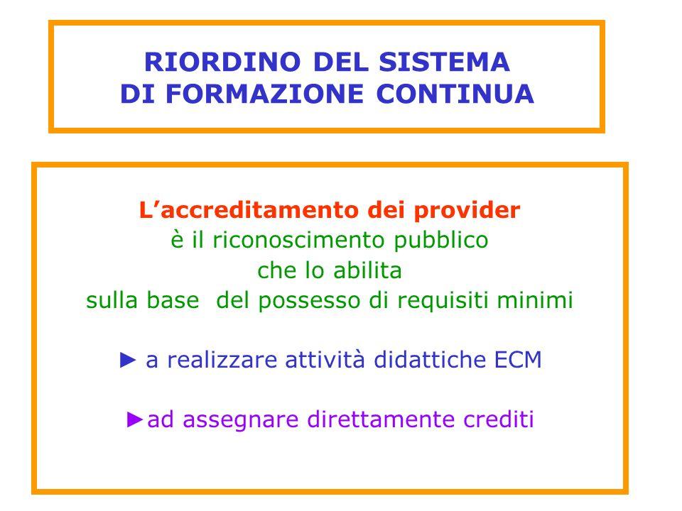 RIORDINO DEL SISTEMA DI FORMAZIONE CONTINUA Laccreditamento dei provider è il riconoscimento pubblico che lo abilita sulla base del possesso di requis