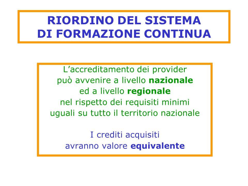 RIORDINO DEL SISTEMA DI FORMAZIONE CONTINUA Laccreditamento dei provider può avvenire a livello nazionale ed a livello regionale nel rispetto dei requ