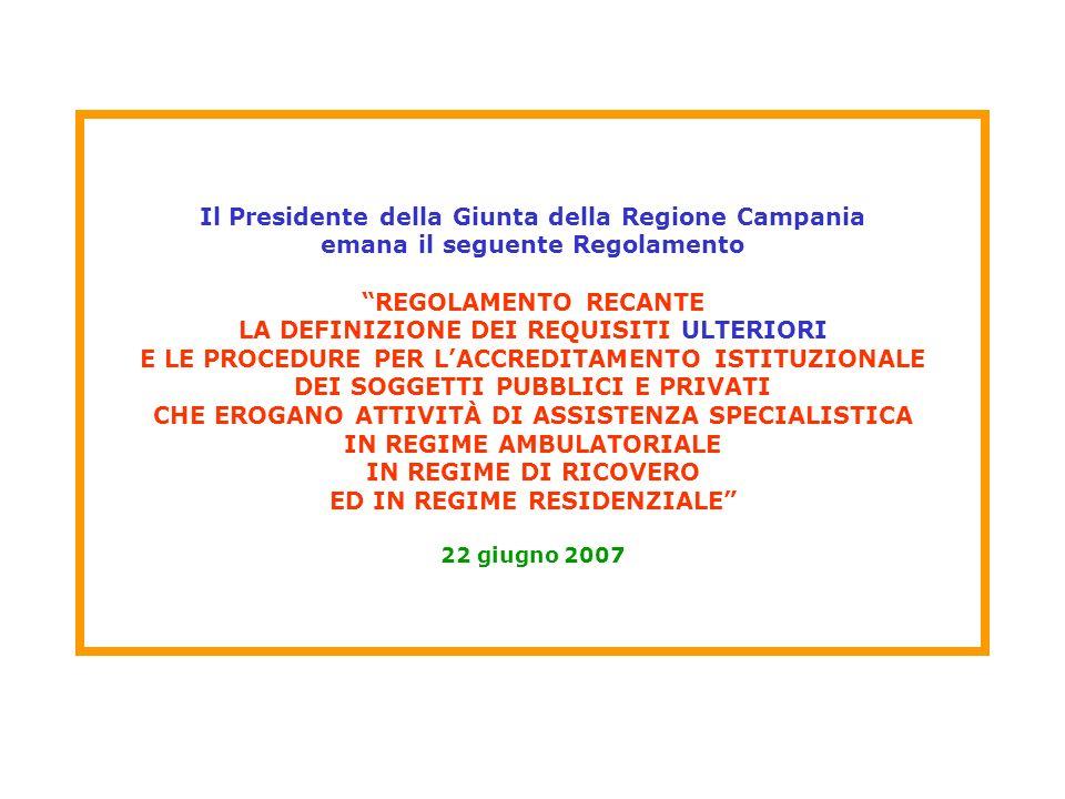 Il Presidente della Giunta della Regione Campania emana il seguente Regolamento REGOLAMENTO RECANTE LA DEFINIZIONE DEI REQUISITI ULTERIORI E LE PROCED