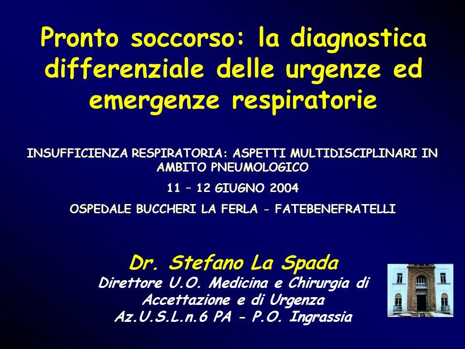 Pronto soccorso: la diagnostica differenziale delle urgenze ed emergenze respiratorie Dr. Stefano La Spada Direttore U.O. Medicina e Chirurgia di Acce