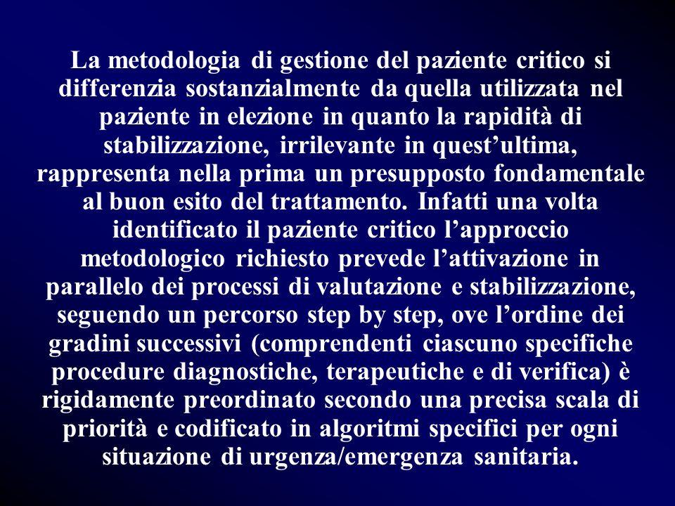 La metodologia di gestione del paziente critico si differenzia sostanzialmente da quella utilizzata nel paziente in elezione in quanto la rapidità di