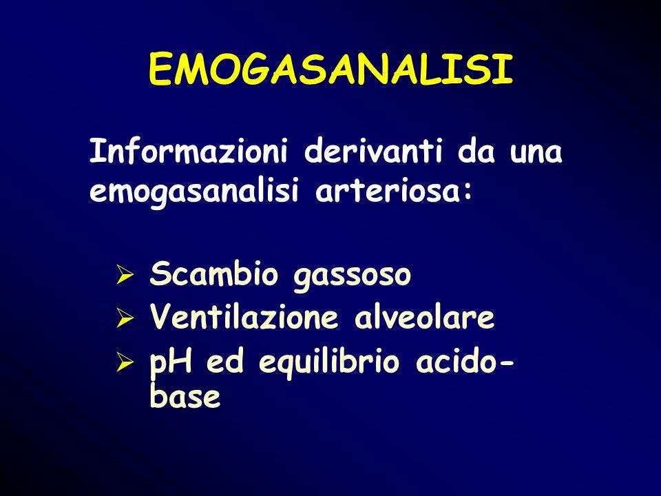 Scambio gassoso Ventilazione alveolare pH ed equilibrio acido- base Informazioni derivanti da una emogasanalisi arteriosa: