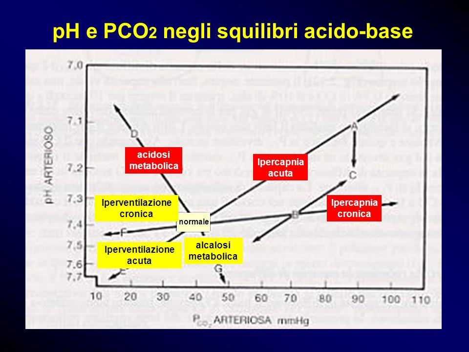 pH e PCO 2 negli squilibri acido-base normale acidosi metabolica Ipercapnia acuta Ipercapnia cronica alcalosi metabolica Iperventilazione acuta Iperve