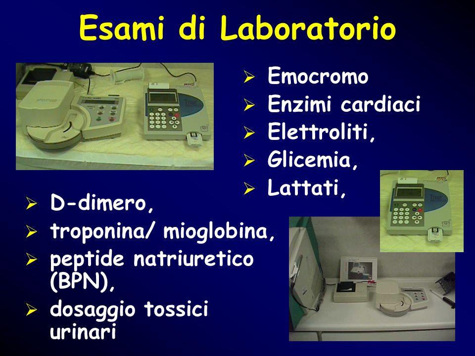 Esami di Laboratorio Emocromo Enzimi cardiaci Elettroliti, Glicemia, Lattati, D-dimero, troponina/ mioglobina, peptide natriuretico (BPN), dosaggio to