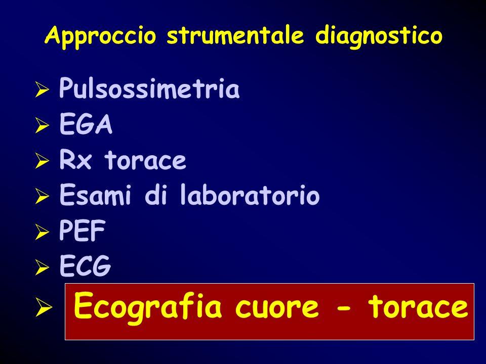 Approccio strumentale diagnostico Pulsossimetria EGA Rx torace Esami di laboratorio PEF ECG Ecografia cuore - torace