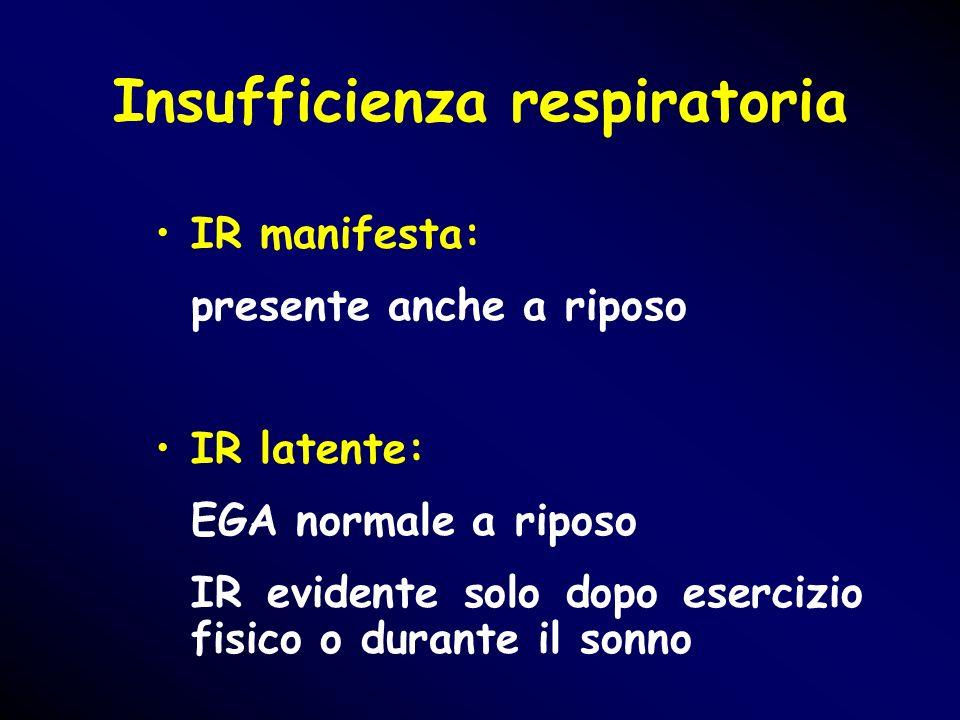 Insufficienza respiratoria IR manifesta: presente anche a riposo IR latente: EGA normale a riposo IR evidente solo dopo esercizio fisico o durante il