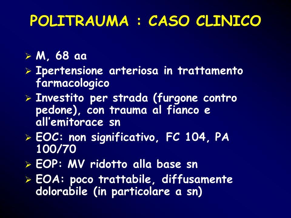 POLITRAUMA : CASO CLINICO M, 68 aa Ipertensione arteriosa in trattamento farmacologico Investito per strada (furgone contro pedone), con trauma al fia