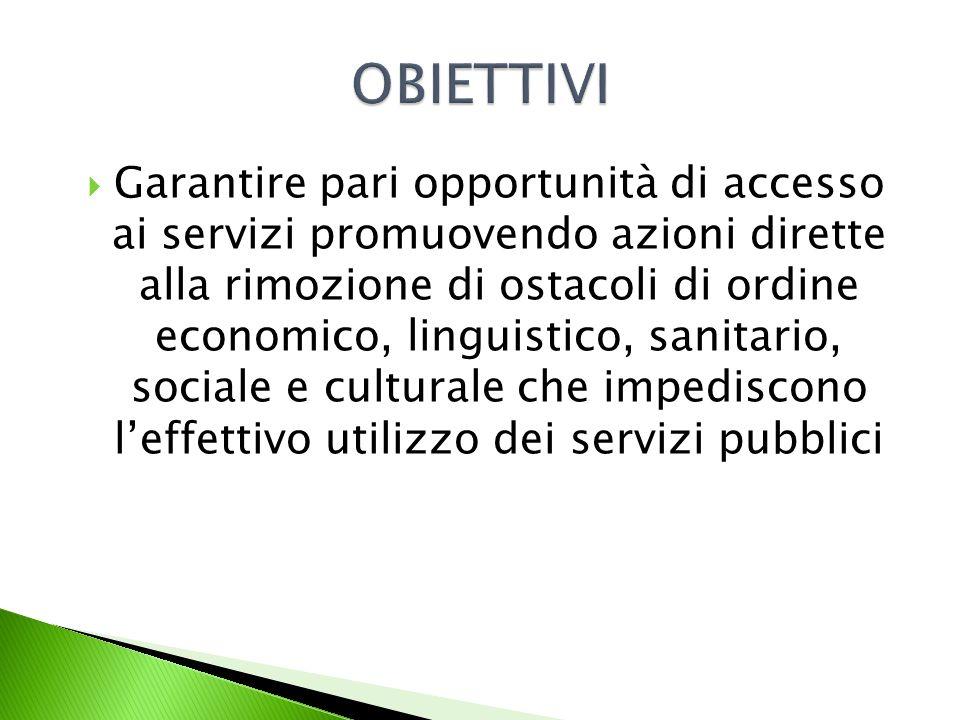 Garantire pari opportunità di accesso ai servizi promuovendo azioni dirette alla rimozione di ostacoli di ordine economico, linguistico, sanitario, sociale e culturale che impediscono leffettivo utilizzo dei servizi pubblici