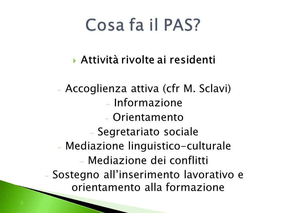 Attività rivolte ai residenti - Accoglienza attiva (cfr M.