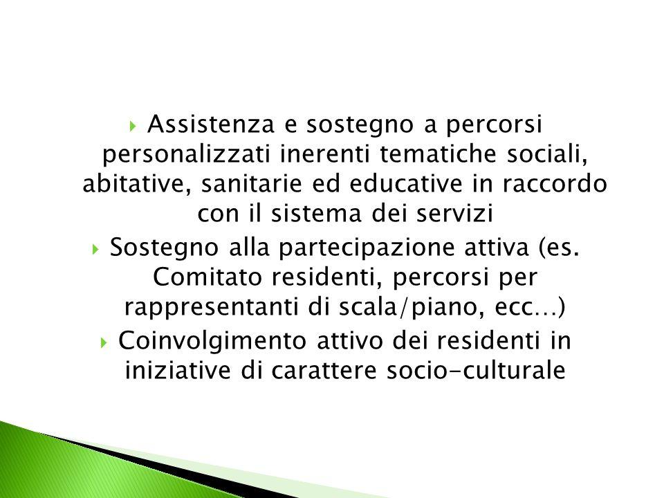 Assistenza e sostegno a percorsi personalizzati inerenti tematiche sociali, abitative, sanitarie ed educative in raccordo con il sistema dei servizi Sostegno alla partecipazione attiva (es.