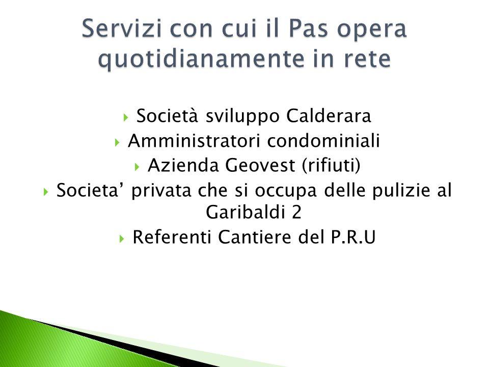 Società sviluppo Calderara Amministratori condominiali Azienda Geovest (rifiuti) Societa privata che si occupa delle pulizie al Garibaldi 2 Referenti Cantiere del P.R.U