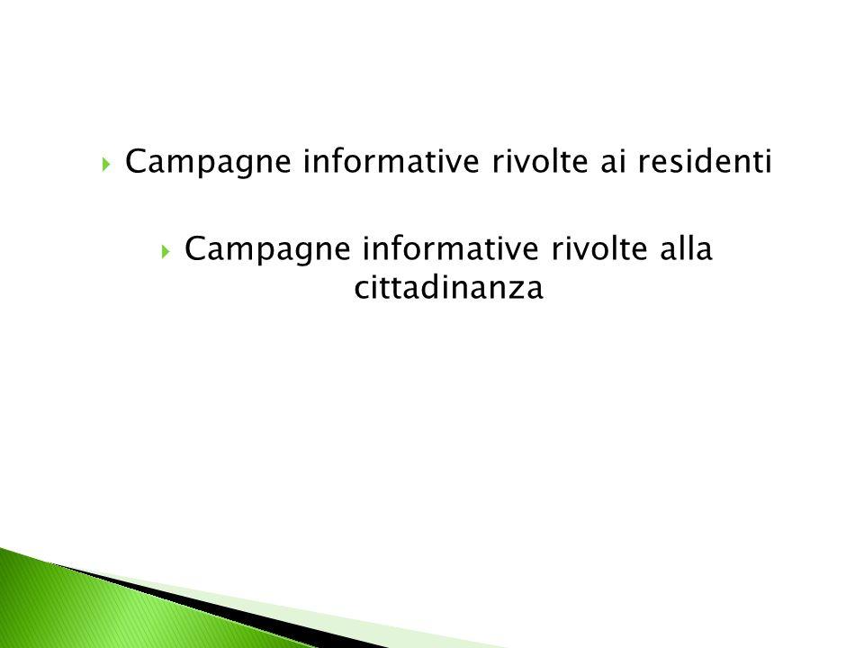 Campagne informative rivolte ai residenti Campagne informative rivolte alla cittadinanza