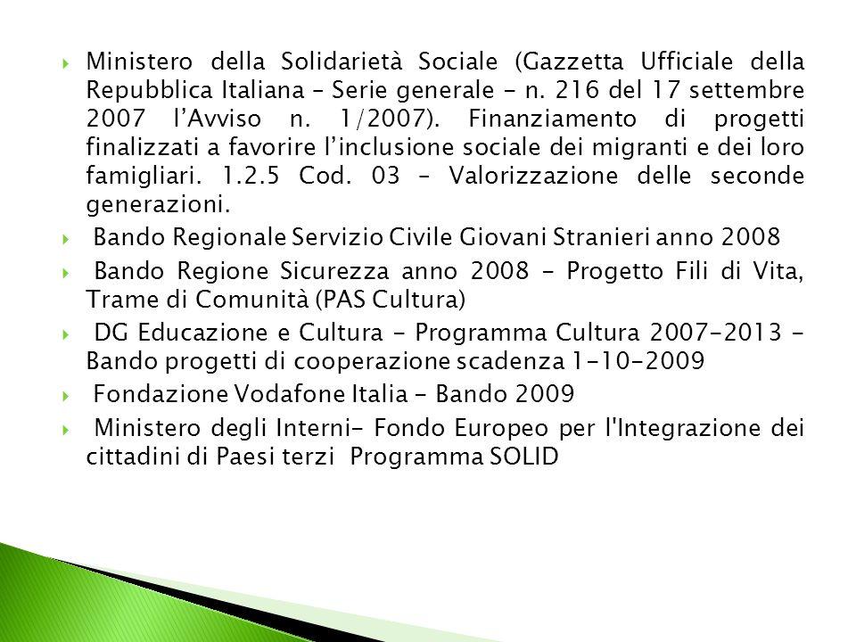 Ministero della Solidarietà Sociale (Gazzetta Ufficiale della Repubblica Italiana – Serie generale - n.