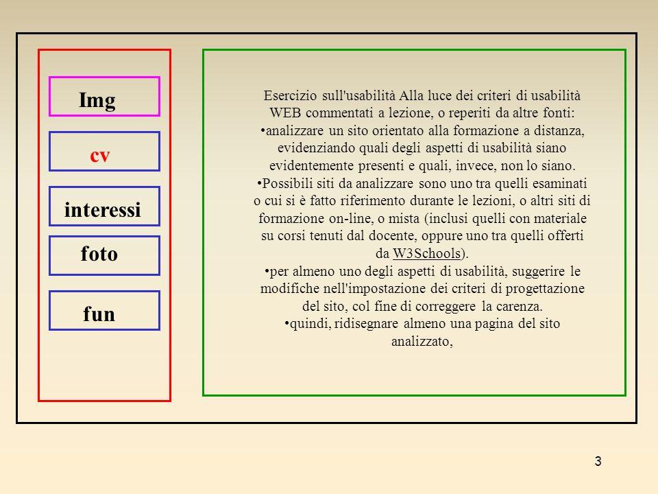 3 Esercizio sull'usabilità Alla luce dei criteri di usabilità WEB commentati a lezione, o reperiti da altre fonti: analizzare un sito orientato alla f
