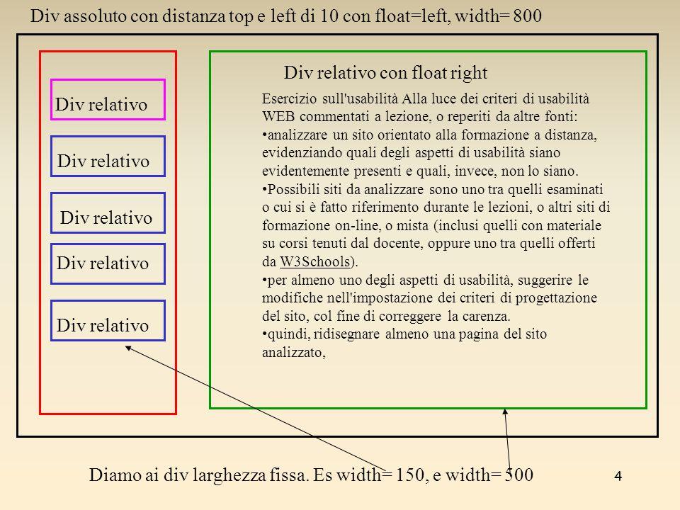 4 Esercizio sull'usabilità Alla luce dei criteri di usabilità WEB commentati a lezione, o reperiti da altre fonti: analizzare un sito orientato alla f