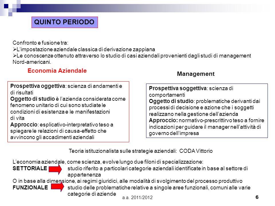 a.a. 2011/20126 QUINTO PERIODO Confronto e fusione tra: Limpostazione aziendale classica di derivazione zappiana Le conoscenze ottenuto attraverso lo