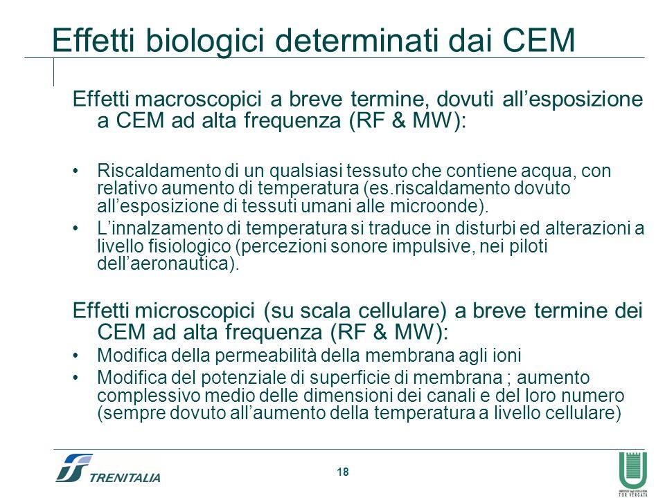 18 Effetti biologici determinati dai CEM Effetti macroscopici a breve termine, dovuti allesposizione a CEM ad alta frequenza (RF & MW): Riscaldamento di un qualsiasi tessuto che contiene acqua, con relativo aumento di temperatura (es.riscaldamento dovuto allesposizione di tessuti umani alle microonde).