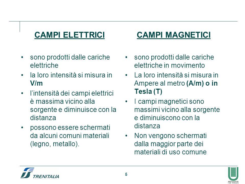 5 CAMPI ELETTRICI sono prodotti dalle cariche elettriche la loro intensità si misura in V/m lintensità dei campi elettrici è massima vicino alla sorgente e diminuisce con la distanza possono essere schermati da alcuni comuni materiali (legno, metallo).