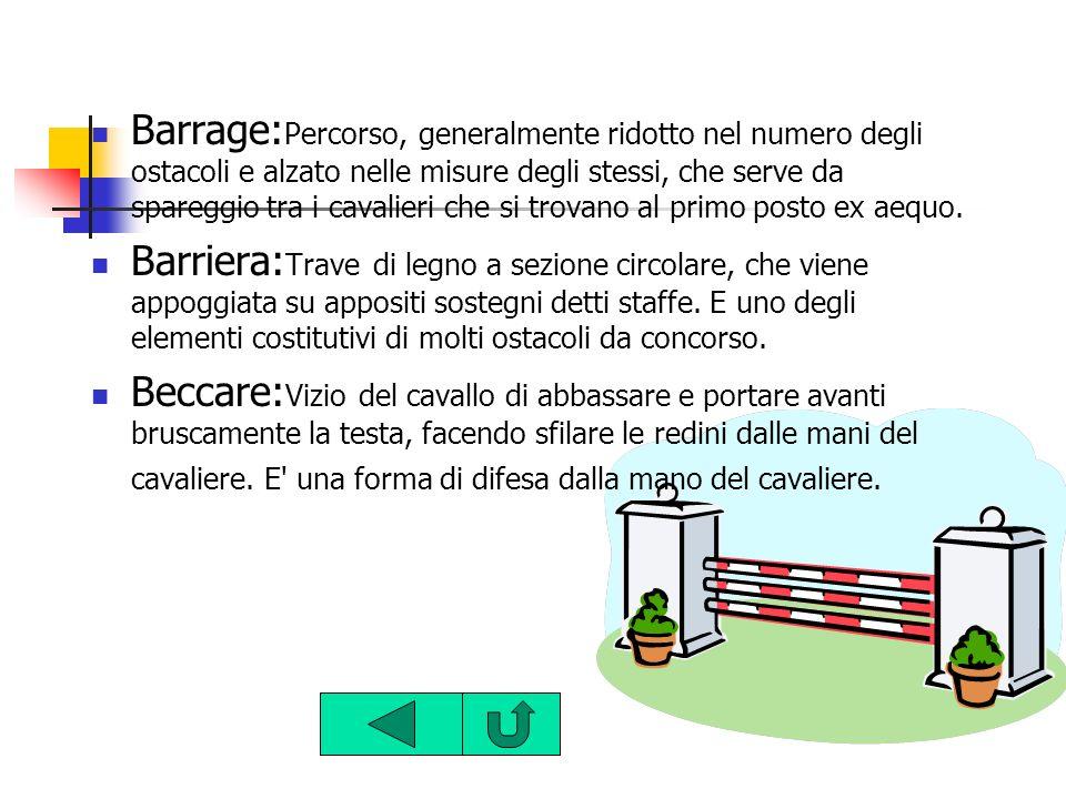 Barrage: Percorso, generalmente ridotto nel numero degli ostacoli e alzato nelle misure degli stessi, che serve da spareggio tra i cavalieri che si tr