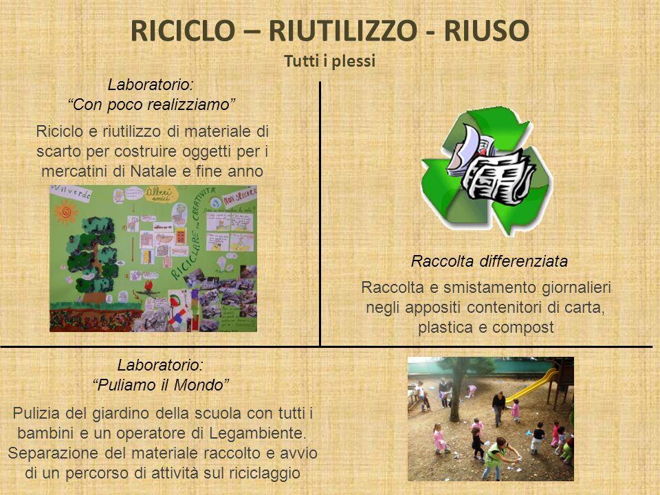 RICICLO – RIUTILIZZO - RIUSO Tutti i plessi Laboratorio: Con poco realizziamo Riciclo e riutilizzo di materiale di scarto per costruire oggetti per i