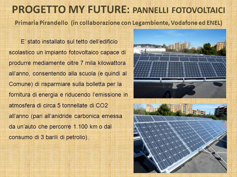 PROGETTO MY FUTURE: PANNELLI FOTOVOLTAICI Primaria Pirandello (in collaborazione con Legambiente, Vodafone ed ENEL) E stato installato sul tetto delle