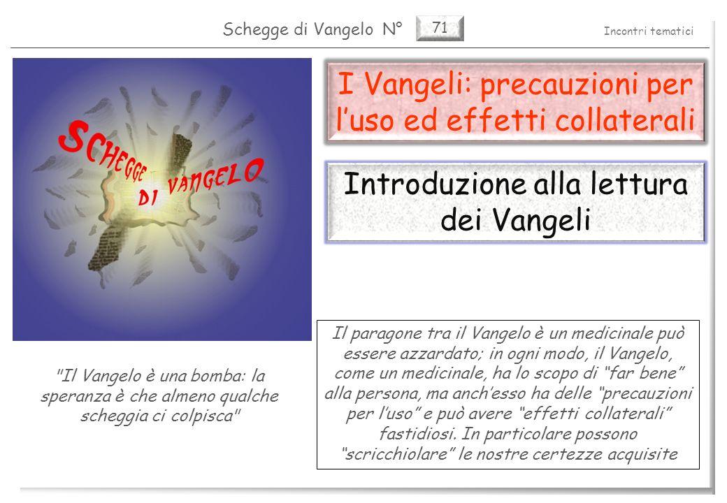 71 I Vangeli: precauzioni per luso ed effetti collaterali La difficoltà di lettura dei vangeli (1) 2 Pag.