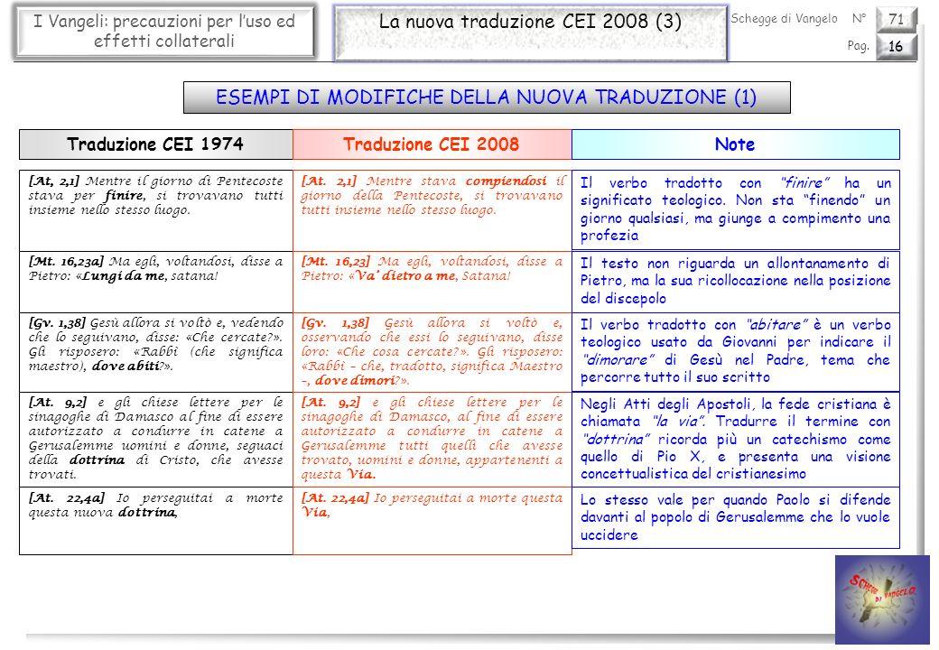 71 I Vangeli: precauzioni per luso ed effetti collaterali La nuova traduzione CEI 2008 (3) 16 Pag. Schegge di VangeloN° [At, 2,1] Mentre il giorno di
