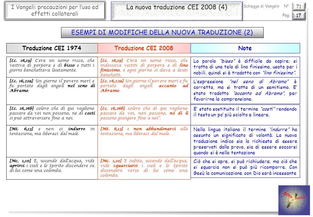 71 I Vangeli: precauzioni per luso ed effetti collaterali La nuova traduzione CEI 2008 (4) 17 Pag. Schegge di VangeloN° [Lc. 16,19] C'era un uomo ricc