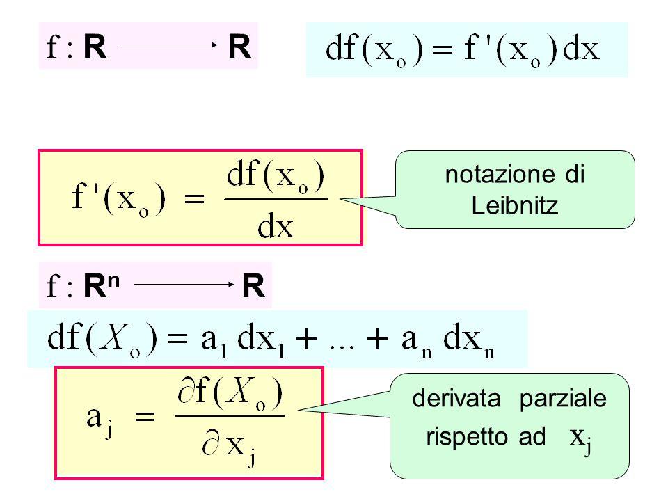 f : R R f : R n R derivata parziale rispetto ad x j notazione di Leibnitz