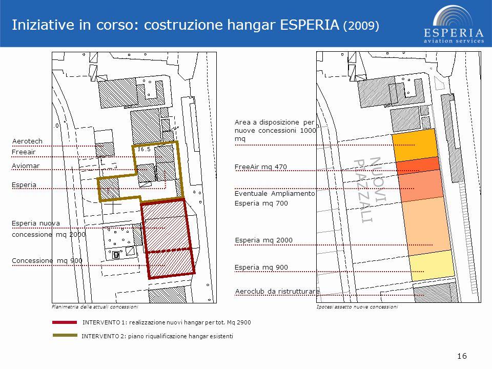 NUOVI PIAZZALI INTERVENTO 1: realizzazione nuovi hangar per tot. Mq 2900 INTERVENTO 2: piano riqualificazione hangar esistenti Planimetria delle attua