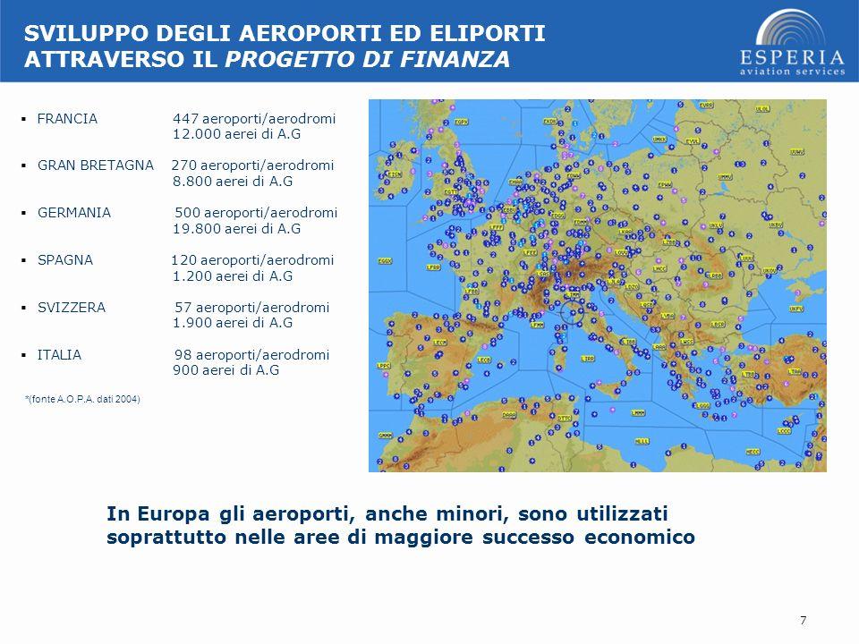 FRANCIA 447 aeroporti/aerodromi 12.000 aerei di A.G GRAN BRETAGNA 270 aeroporti/aerodromi 8.800 aerei di A.G GERMANIA 500 aeroporti/aerodromi 19.800 a