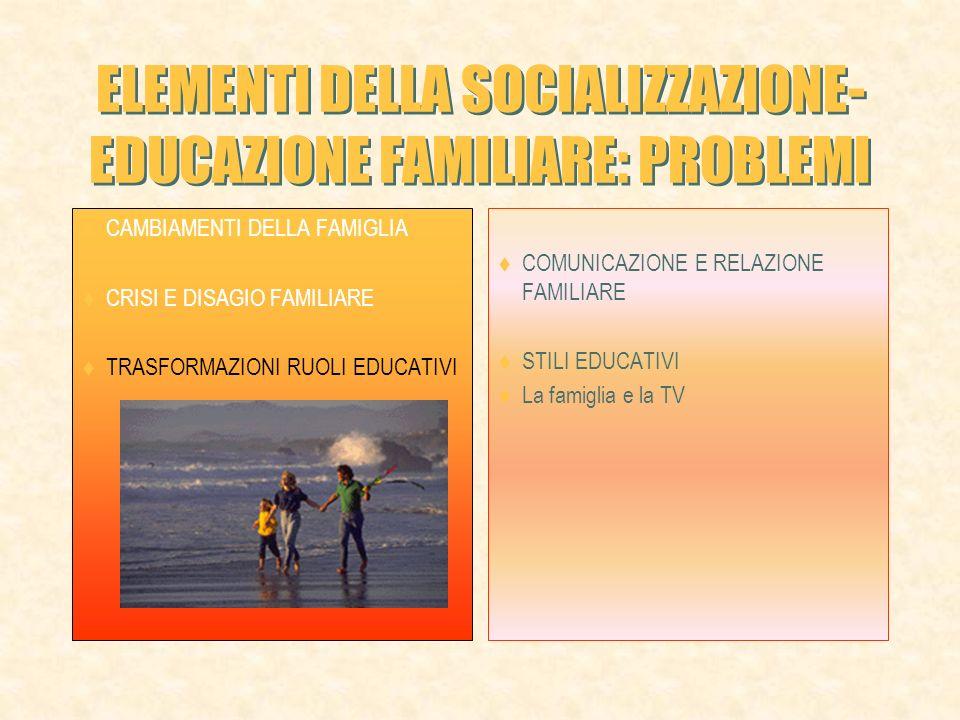 ELEMENTI DELLA SOCIALIZZAZIONE- EDUCAZIONE FAMILIARE: PROBLEMI CAMBIAMENTI DELLA FAMIGLIA CRISI E DISAGIO FAMILIARE TRASFORMAZIONI RUOLI EDUCATIVI COMUNICAZIONE E RELAZIONE FAMILIARE STILI EDUCATIVI La famiglia e la TV