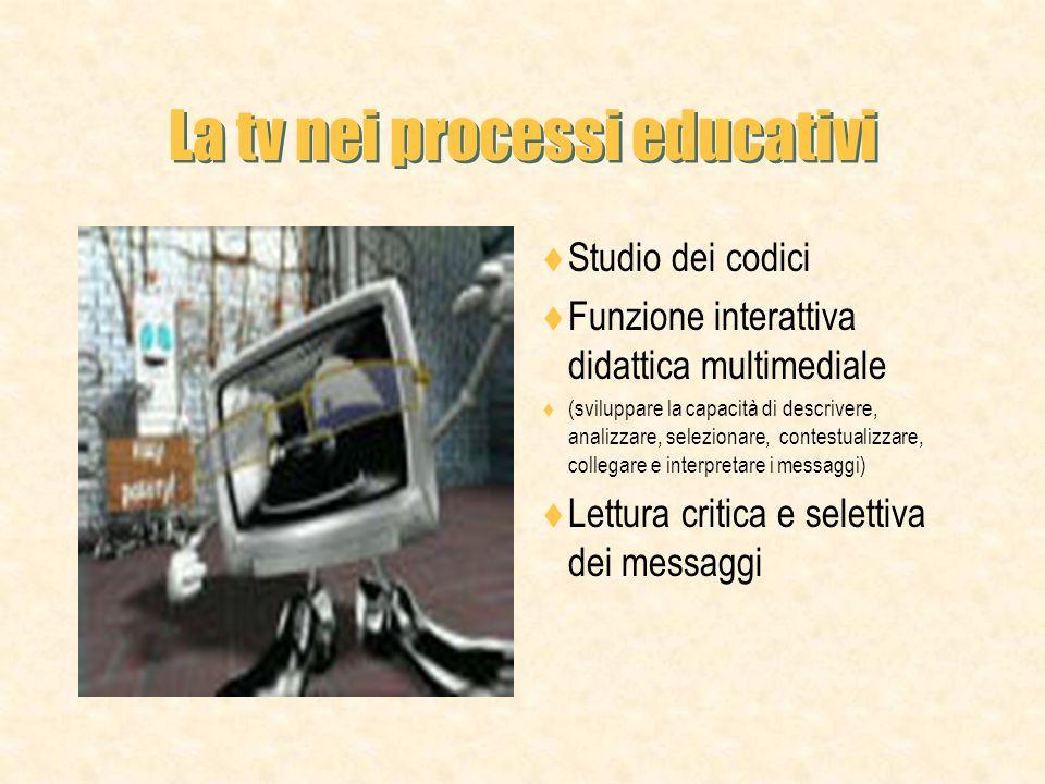 La tv nei processi educativi Studio dei codici Funzione interattiva didattica multimediale (sviluppare la capacità di descrivere, analizzare, selezionare, contestualizzare, collegare e interpretare i messaggi) Lettura critica e selettiva dei messaggi