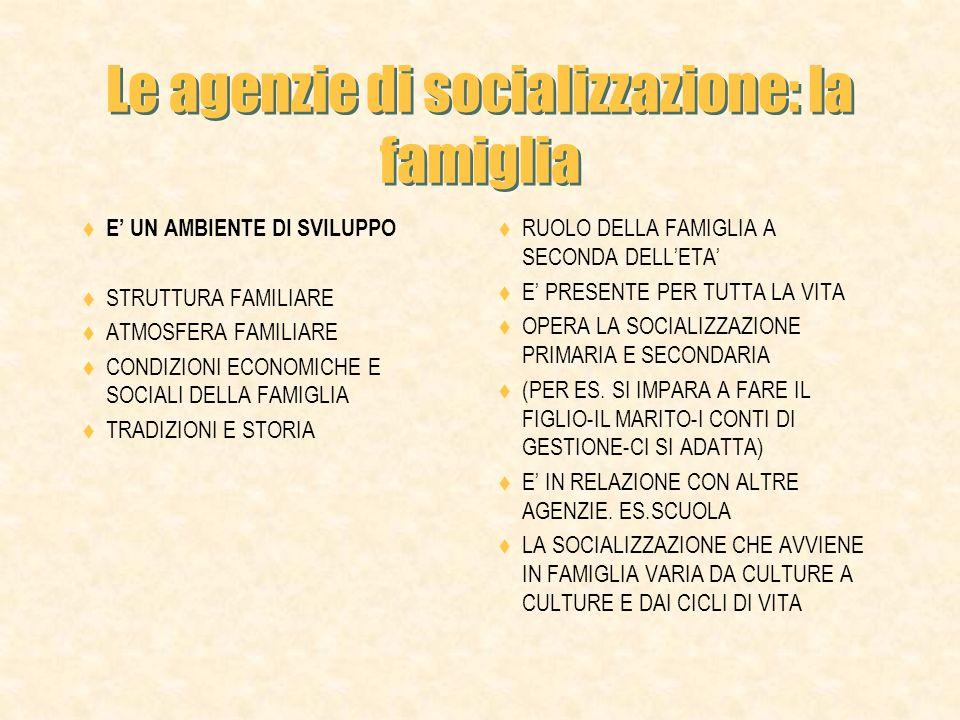 Le agenzie di socializzazione: la famiglia E UN AMBIENTE DI SVILUPPO STRUTTURA FAMILIARE ATMOSFERA FAMILIARE CONDIZIONI ECONOMICHE E SOCIALI DELLA FAMIGLIA TRADIZIONI E STORIA RUOLO DELLA FAMIGLIA A SECONDA DELLETA E PRESENTE PER TUTTA LA VITA OPERA LA SOCIALIZZAZIONE PRIMARIA E SECONDARIA (PER ES.