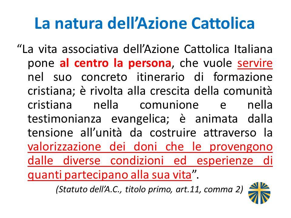 La natura dellAzione Cattolica La vita associativa dellAzione Cattolica Italiana pone al centro la persona, che vuole servire nel suo concreto itinera