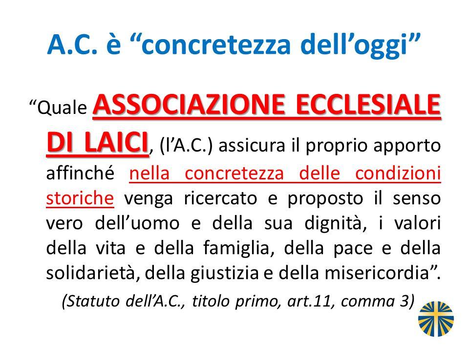 A.C. è concretezza delloggi ASSOCIAZIONE ECCLESIALE DI LAICI Quale ASSOCIAZIONE ECCLESIALE DI LAICI, (lA.C.) assicura il proprio apporto affinché nell