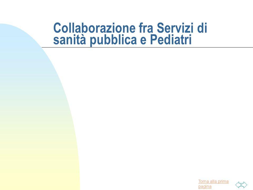 Torna alla prima pagina Collaborazione fra Servizi di sanità pubblica e Pediatri