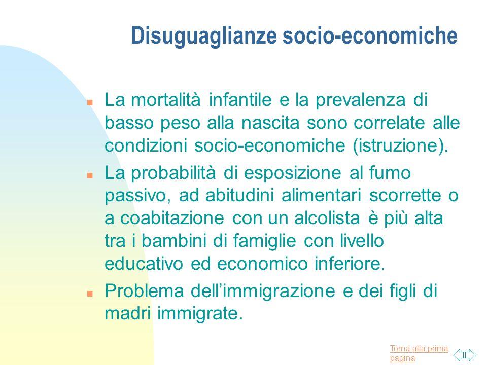 Torna alla prima pagina Disuguaglianze socio-economiche n La mortalità infantile e la prevalenza di basso peso alla nascita sono correlate alle condizioni socio-economiche (istruzione).