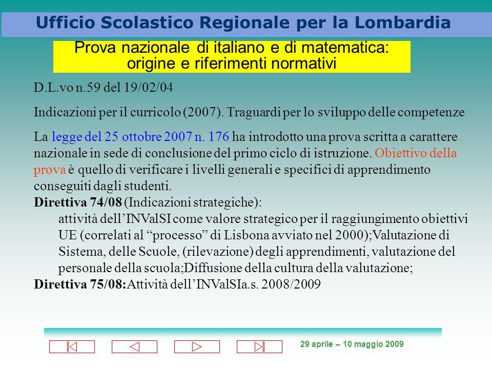29 aprile – 10 maggio 2009 Ufficio Scolastico Regionale per la Lombardia Prova nazionale di italiano e di matematica: origine e riferimenti normativi D.L.vo n.59 del 19/02/04 Indicazioni per il curricolo (2007).