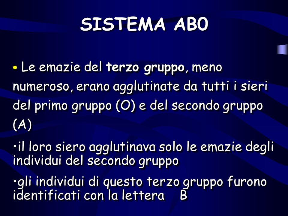 SISTEMA AB0 Le emazie del terzo gruppo, meno numeroso, erano agglutinate da tutti i sieri del primo gruppo (O) e del secondo gruppo (A) Le emazie del