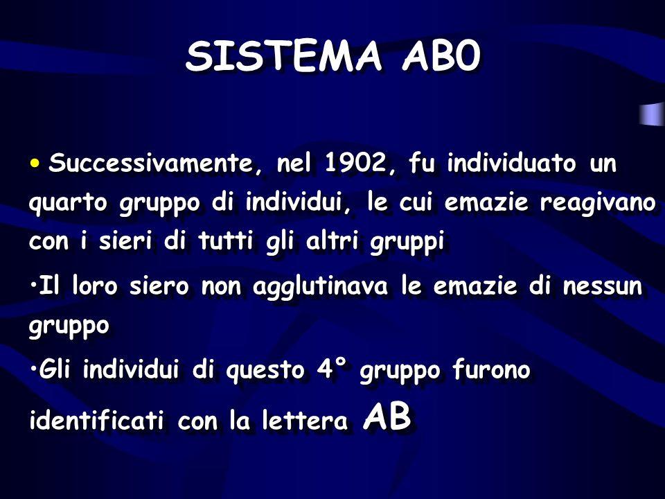 SISTEMA AB0 Successivamente, nel 1902, fu individuato un quarto gruppo di individui, le cui emazie reagivano con i sieri di tutti gli altri gruppi Suc