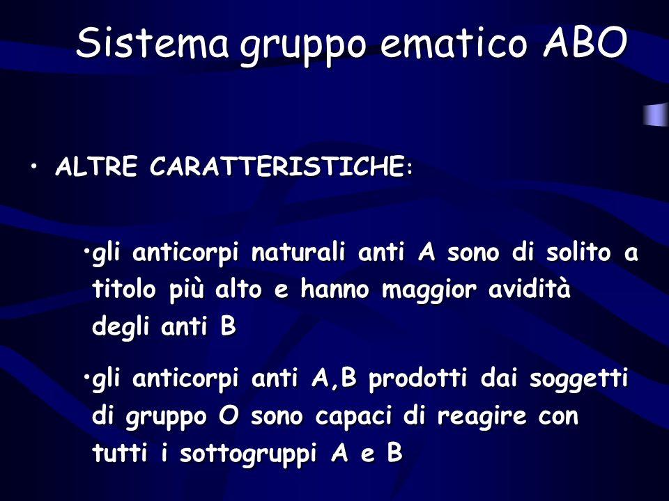 Sistema gruppo ematico ABO ALTRE CARATTERISTICHE : gli anticorpi naturali anti A sono di solito a titolo più alto e hanno maggior avidità degli anti B