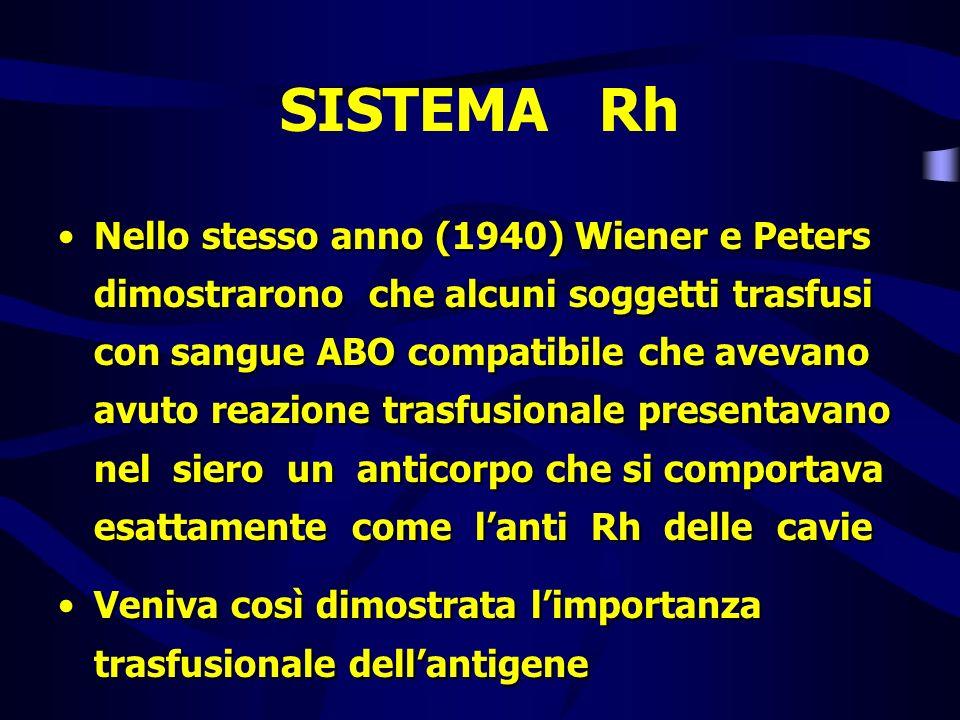 SISTEMA Rh Nello stesso anno (1940) Wiener e Peters dimostrarono che alcuni soggetti trasfusi con sangue ABO compatibile che avevano avuto reazione tr