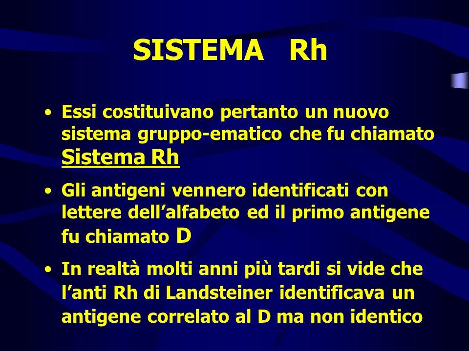 SISTEMA Rh Essi costituivano pertanto un nuovo sistema gruppo-ematico che fu chiamato Sistema Rh Gli antigeni vennero identificati con lettere dellalf