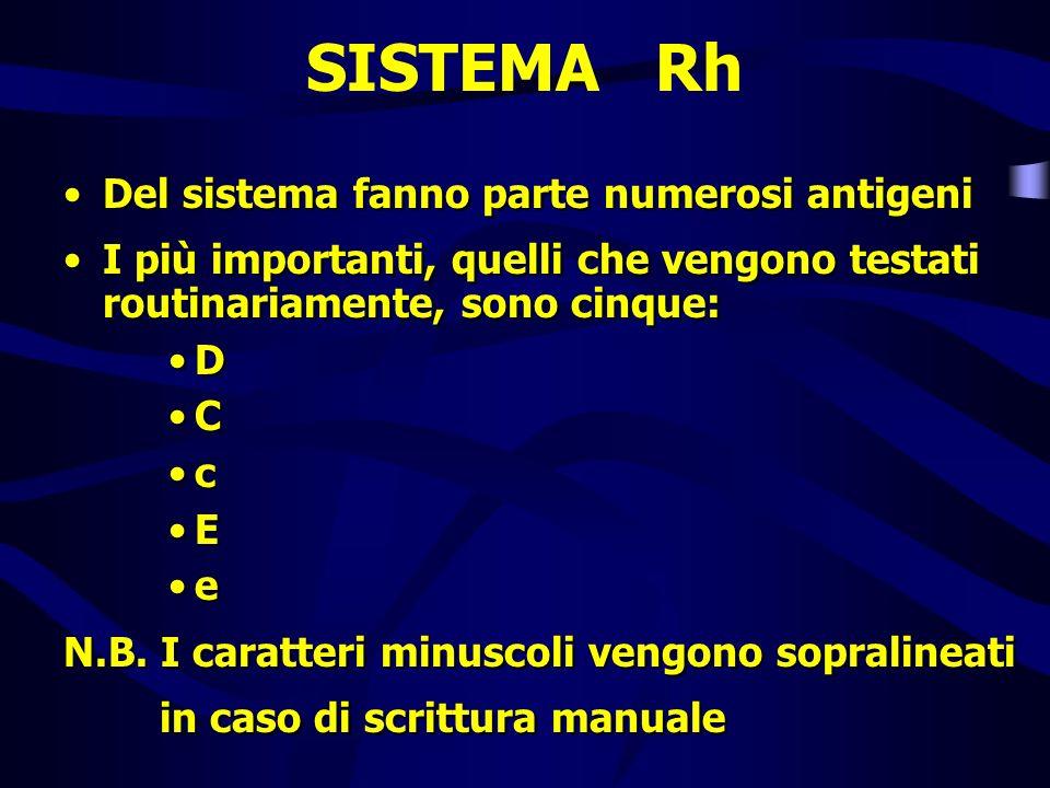SISTEMA Rh Del sistema fanno parte numerosi antigeni I più importanti, quelli che vengono testati routinariamente, sono cinque: D C c E e N.B. I carat